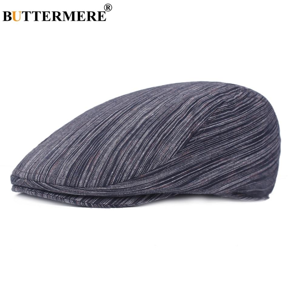 BUTTERMERE Cotton Beret Blue Duckbill-Hats Flat-Caps Navy Classic British Autumn Vintage