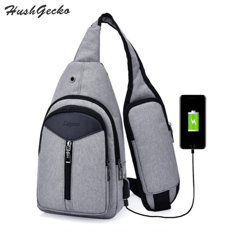 Sling Travel Bag Canvas Chest Bag Shoulder Crossbody with USB Charging Port and Strap Pocket