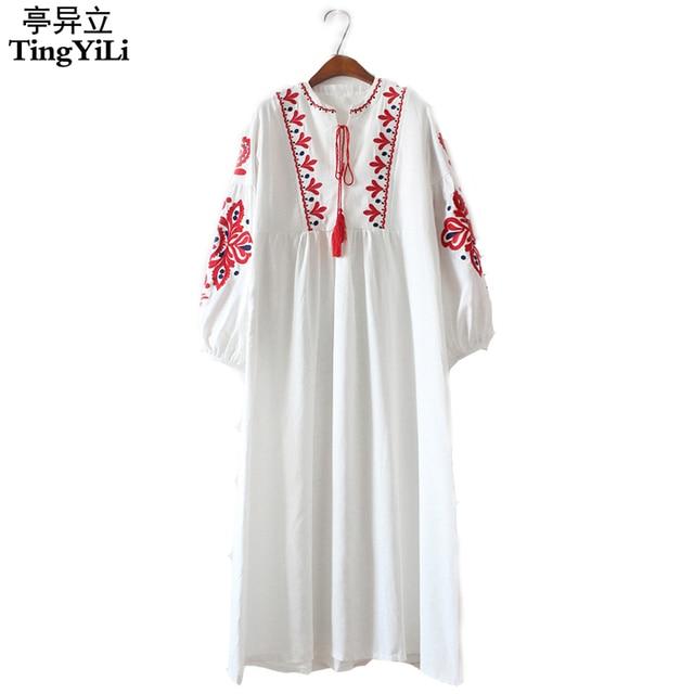 bb03352facd9 TingYiLi Floral Brodé Ethnique Robe Coton Lin Lanterne À Manches Longues  Maxi Robe Noir Bleu Blanc
