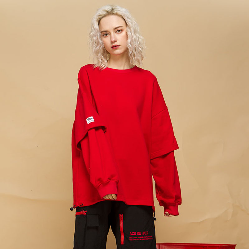 Mode faux 2 pièces Design sweat à capuche pour femme rouge rose violet noir 2019 nouveauté décontracté BF Couple à manches longues o-cou Sweatshirts