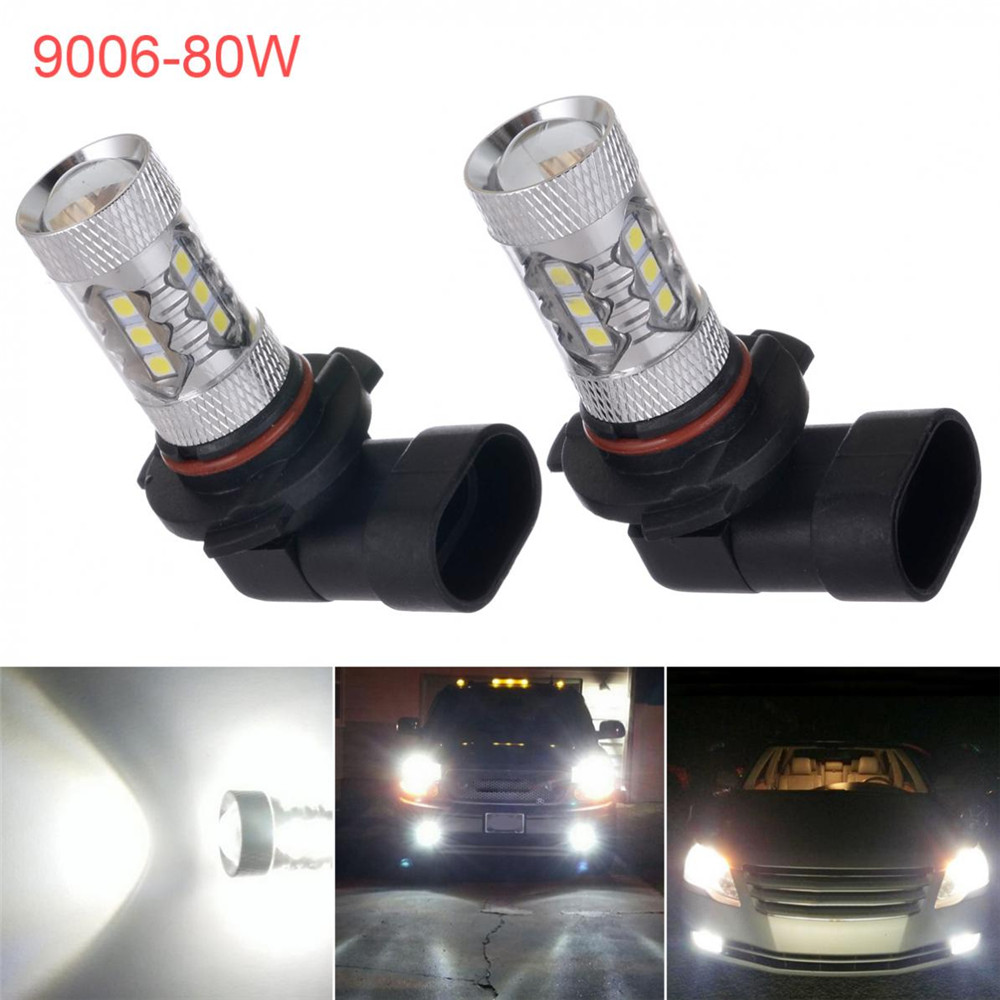 New 12V 1Pair 80W 3030 16SMD White 9006 HB4 High Power Car LED Fog Driving Light Bulbs