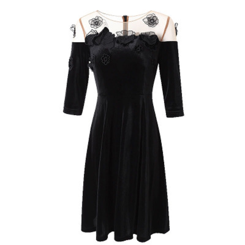 Aliexpress.com   Buy Office ladies A line women Spring dress 2018 new  Floral luxury autumn Clothing patchwork Plus Size half sleeves Lace dresses  3xl from ... 6dff796b2e08