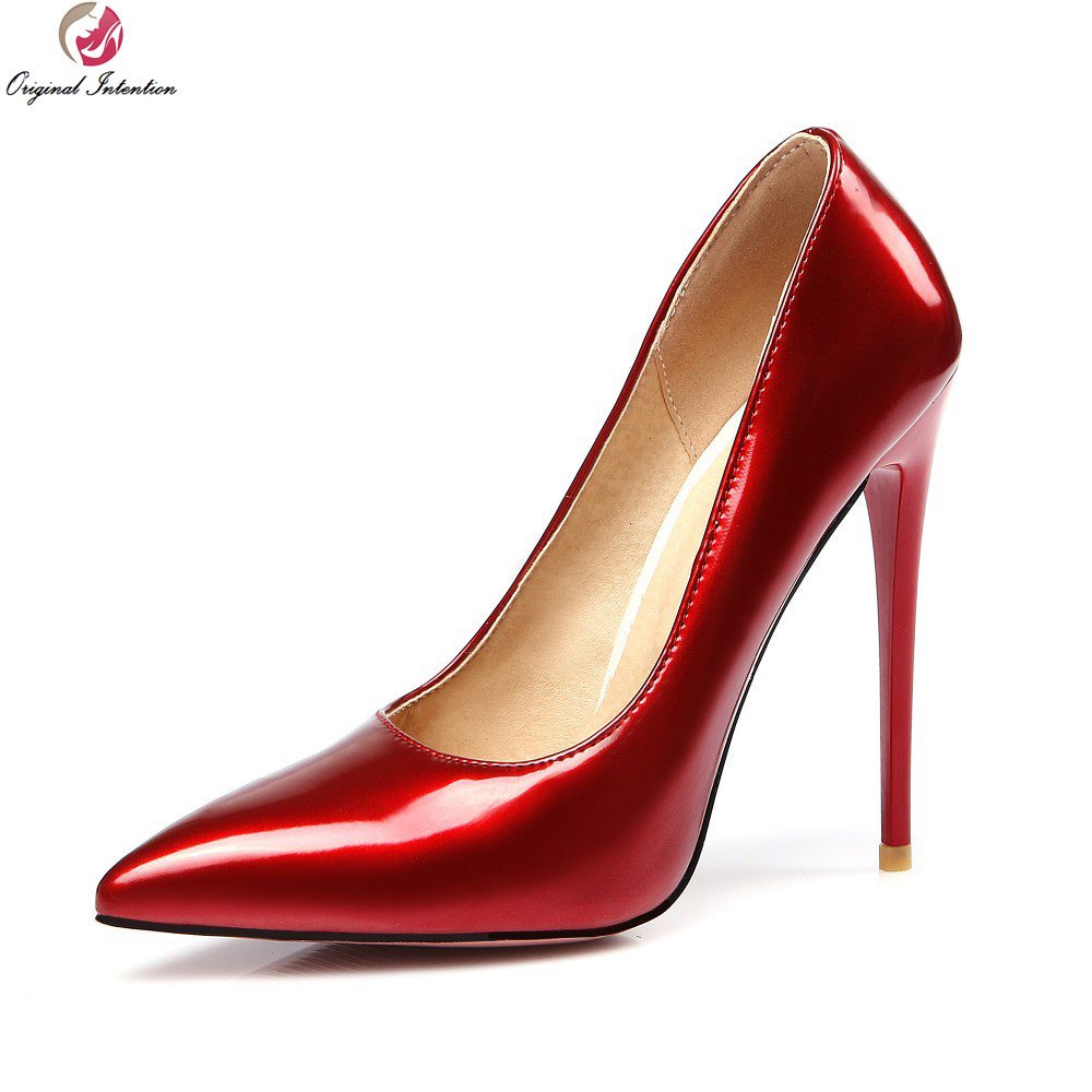7dc134f01b50 Original Intention Women Pumps Gorgeous Pointed Toe Thin Heels Pumps  Beautiful Black Pink Red Nude Shoes Woman US Size 4-15