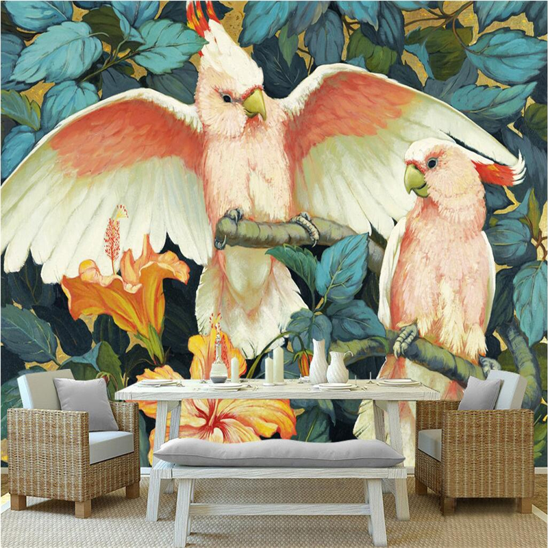 Large Wall Murals Custom Parrot Branches 3d Stereoscopic Wallpaper Mediterranean Style for Study Living Room Kid's Room Bedroom custom baby wallpaper snow white and the seven dwarfs bedroom for the children s room mural backdrop stereoscopic 3d