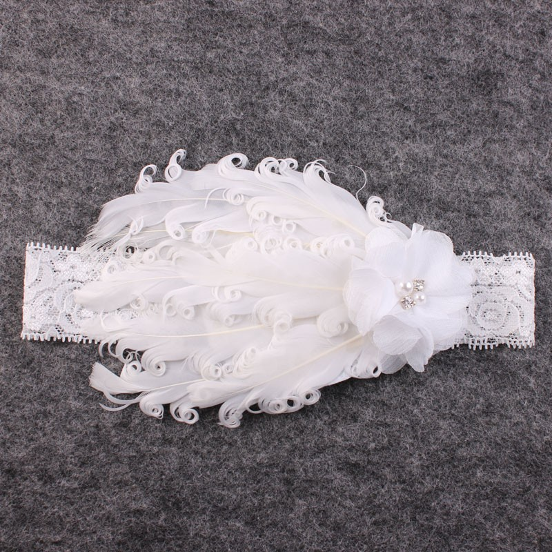 Vintage Blush Angel Wings dan White Feather Headband Lace Headband - Aksesori pakaian - Foto 4