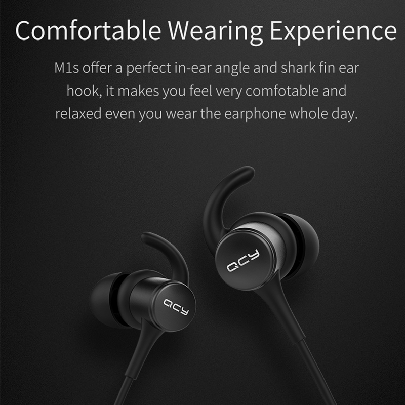 QCY M1S magnetic V4.2 chip Bluetooth headphone IPX5-rated sweatproof wireless earphone sport ear hooks headset with microphone
