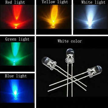 5Colors * 20 Pcs = 100 Pcs/1 Warna = 100 Pcs F3 3 Mm LED Lampu Dioda BERBAGAI MACAM kit Hijau Biru Putih Kuning Komponen Merah DIY Kit