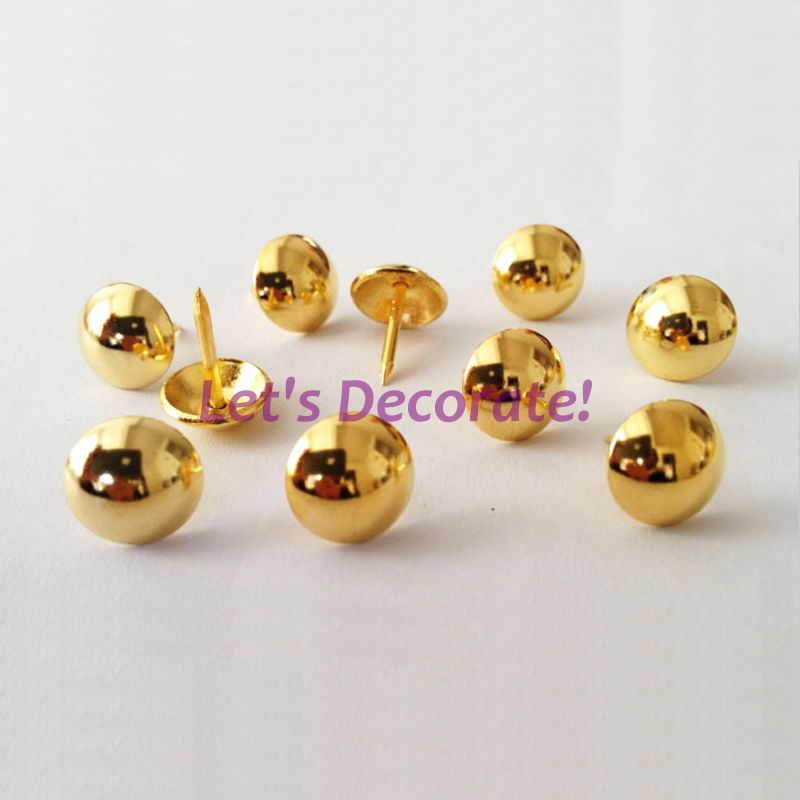Free DHL shipping 3000pcs lot 11mm Golden Plated Home or Garden Decorative Nail Hobnail Upholstery Nail