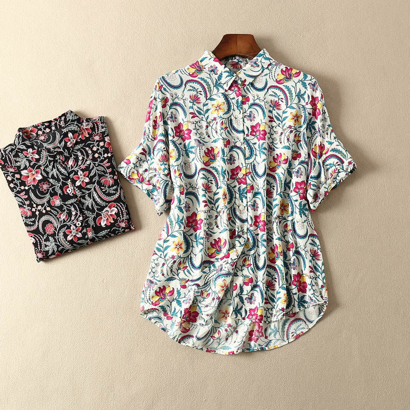 Women Shirt Light and Breathable Printed Silk Cotton Short Sleeve Shirt customized version without label