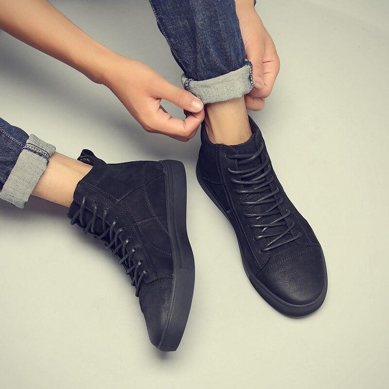 Fotwear Hommes Baskets En Cuir En Cuir chaussures décontractées haut de gamme de mode Noire avec à lacets Bon port avec jeans semelle Souple - 5