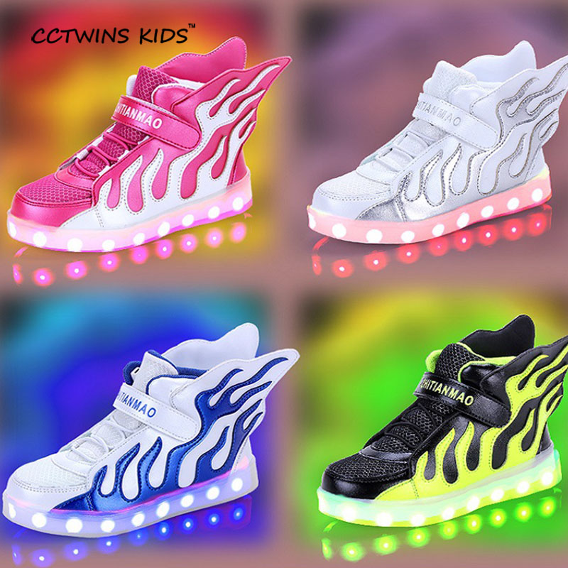 CCTWINS KIDS spring autumn girl led wing lighted sneaker child pu leather shoe baby boy brand USB Rechargeable trainer F1194 cctwins kids 2017 spring high top usb rechargeable lighted girl brand trainer baby boy shoe led children fashion sneaker f1312
