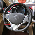 For Toyota Vios Yaris Sedan 2013 2014 2015 ABS Chrome Matte Steering Wheel Cover Decoration Trim Car Styling Accessories 1pcs
