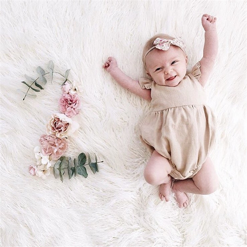 Girls Baby Clothes Bodysuits Sleeveless Solid O-Neck Kid Clothes Baby Costume new born baby clothes