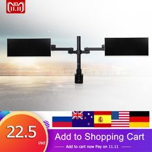 "Metal Dual Arm Holds Fully Adjustable LCD LED Dual Monitor Desk Mount Stand Bracket for 13""-27"" TV Screens with 15 degree Tilt(China)"