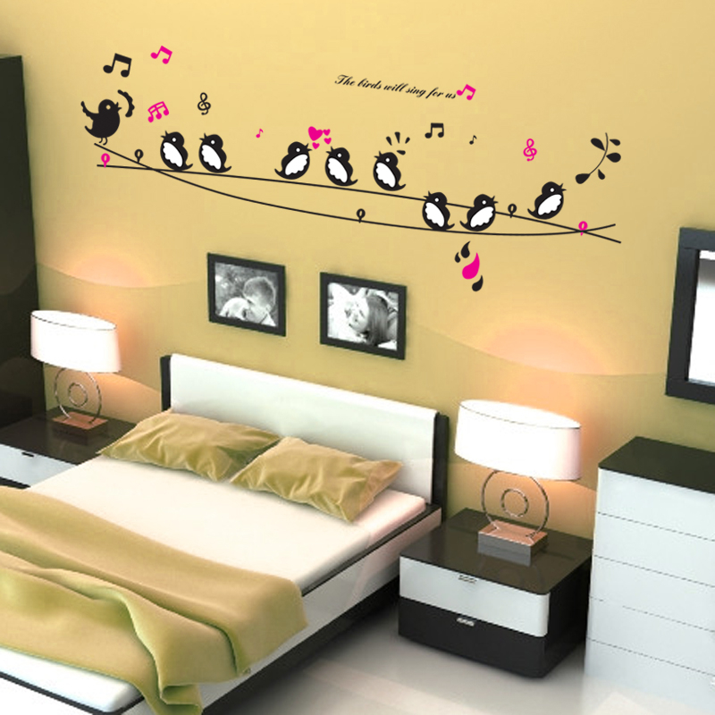 Birds Sing Song Music Heart Wall Stickers Living Room Bedroom TV Sofa Background Home Decals Paper Art Mural Poster In From
