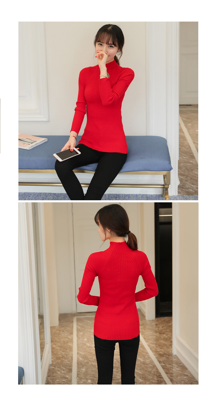 New 17 Spring Fashion Women sweater high elastic Solid Turtleneck sweater women slim sexy tight Bottoming Knitted Pullovers 24