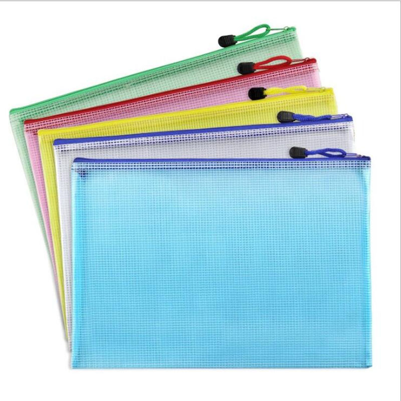 Transparent Waterproof Zipper Grid File Bag Business Office Folder Student Learning Materials Stationery Bag (Color Random)