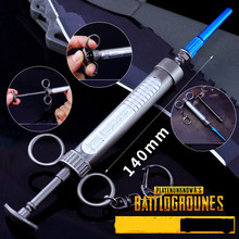 New Arrive PUBG playerunknowns battlegrounds Logo Adrenaline syringe Keychain Pendant Cosplay Accessories for gift collectio