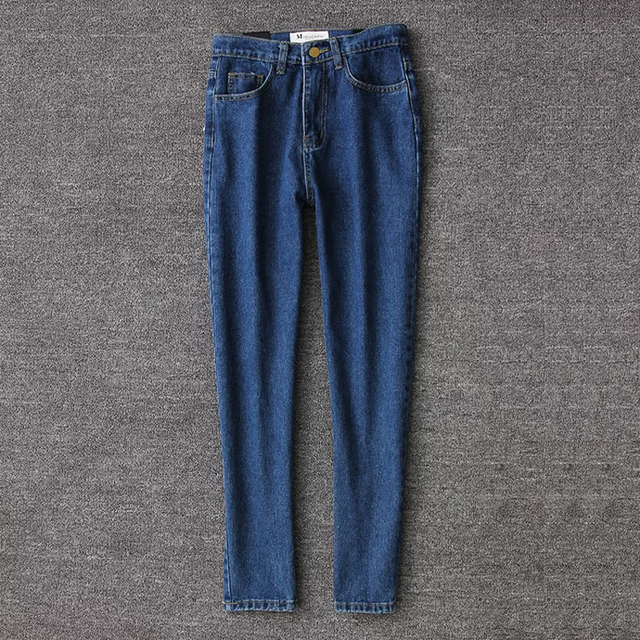 High Waist Ankle Length Jeans Vintage Blue Mom Jeans