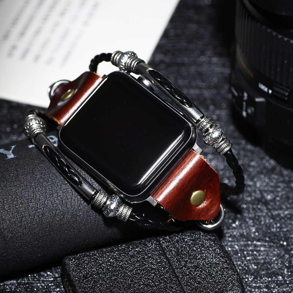 Retro Cowhide Leather Punk Bracelet For Apple Watch Band 38mm 40mm 42mm 44mm Series 1 2 3 4 For IWatch Strap Genuine Leather