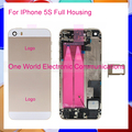 50pcs/lot DHL Black White Gold Rose New For Iphone 5S Full Middle Frame Housing Battery Door Rear Case Cover Flex Cable Assembly