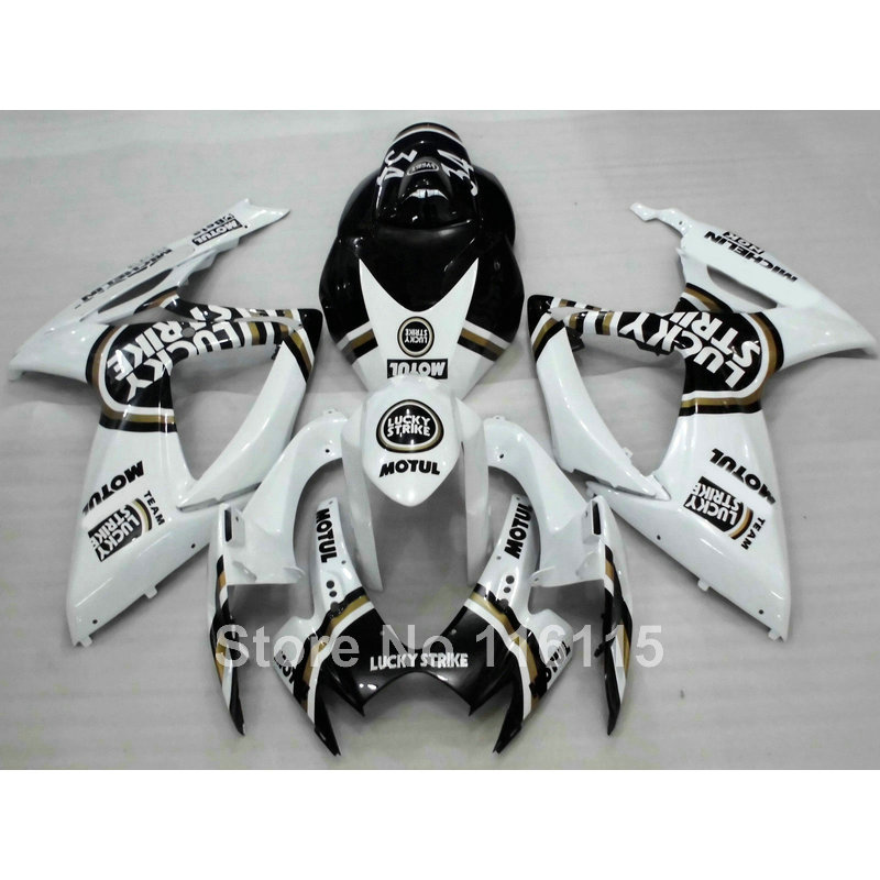 Injection mold <font><b>fairing</b></font> <font><b>kit</b></font> fit for SUZUKI <font><b>GSXR</b></font> <font><b>600</b></font> 750 K6 K7 2006 <font><b>2007</b></font> black LUCKY STRIKE GSXR600 GSXR750 06 07 <font><b>fairings</b></font> set Q5 image