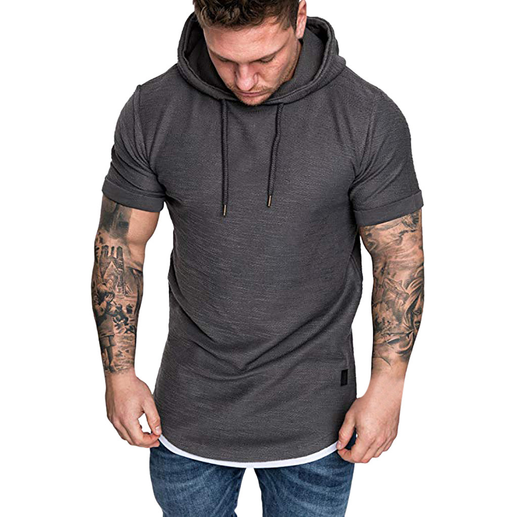 ALI shop ...  ... 33014666507 ... 5 ... TShirts Men's Summer Slim Fit Casual Pattern Large Size Short Sleeve Hoodie Top Blouse Casual Men Fashion High Quality c0509 ...