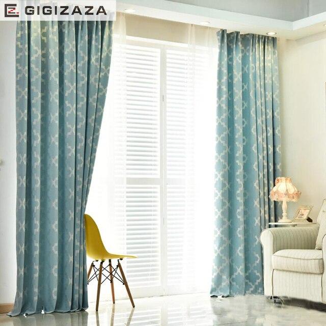 GA Nouveau Géométrique jacquard stores tissu rideau pour salon gris ...