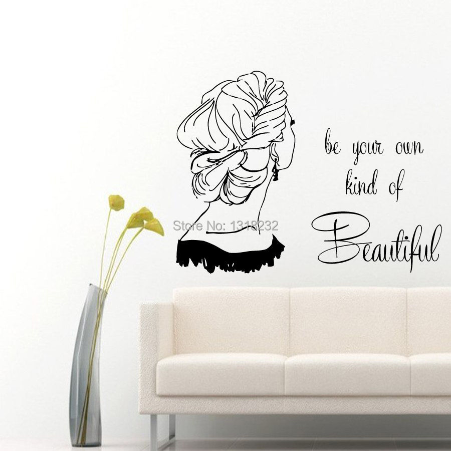 Hair salon wall sticker girl quotes beauty hair shop mural for A 1 beauty salon