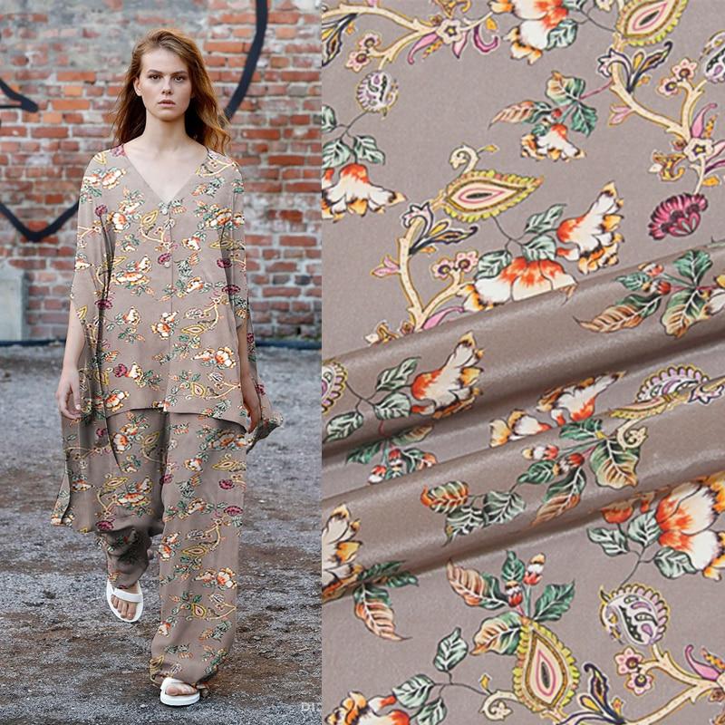 New 140 cm wide 12 mm 100 silk crepe de Chine fabric new silk wide spray