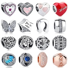 ELESHE 925 Sterling Silver Enamel Butterfly Love Heart Crystal Charm Mom Beads Fit Original Pandora Charm Bracelet DIY Jewelry