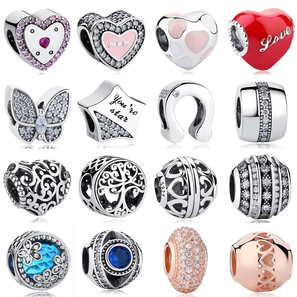 New Authentic 925 Sterling Silver Love Heart Charm Perles Pave avec Rose cristal