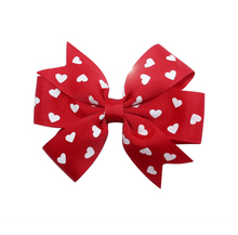 Adogirl 10pcs Valentines Day Hair Bows Lovehearts Print Ribbon Clips Handmade Boutique Accessories Cheap Headwear
