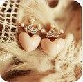 New cute Mellow Pink Crystal Crown Peach Heart Love Stud Earrings