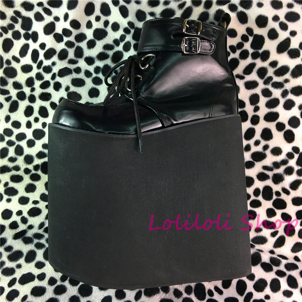 Princesse gothique lolita chaussures Lolilloliyoyo antaina design japonais personnalisé noir fond épais chaussures plates 18-22 cm plate-forme an9103