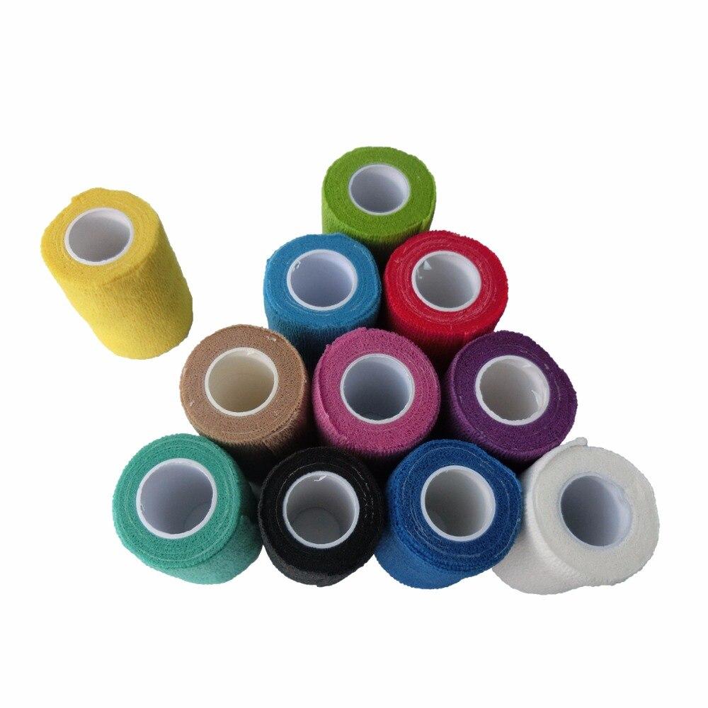 48pcs Lot 7 5cm x 4 5m Self Adhesive Adherent Wrap elastic Nonwoven Cohesive Bandage sports