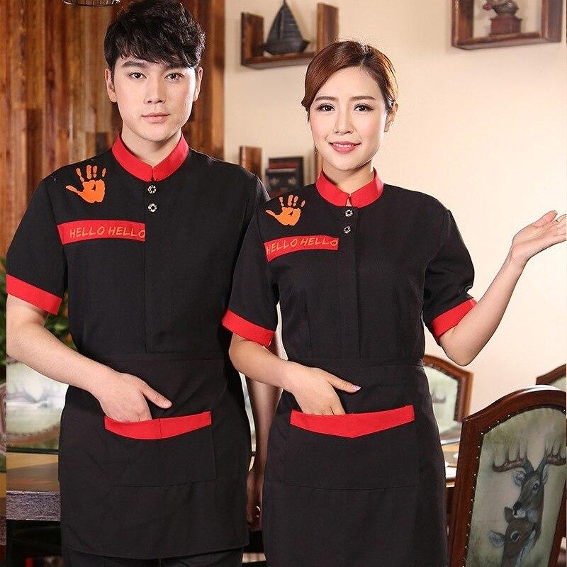 Restaurant Waiter Uniform Summer Waitress Short-sleeved Hotel Hot Pot Shop Man Women Staff Overalls High Quality Jacket H2186