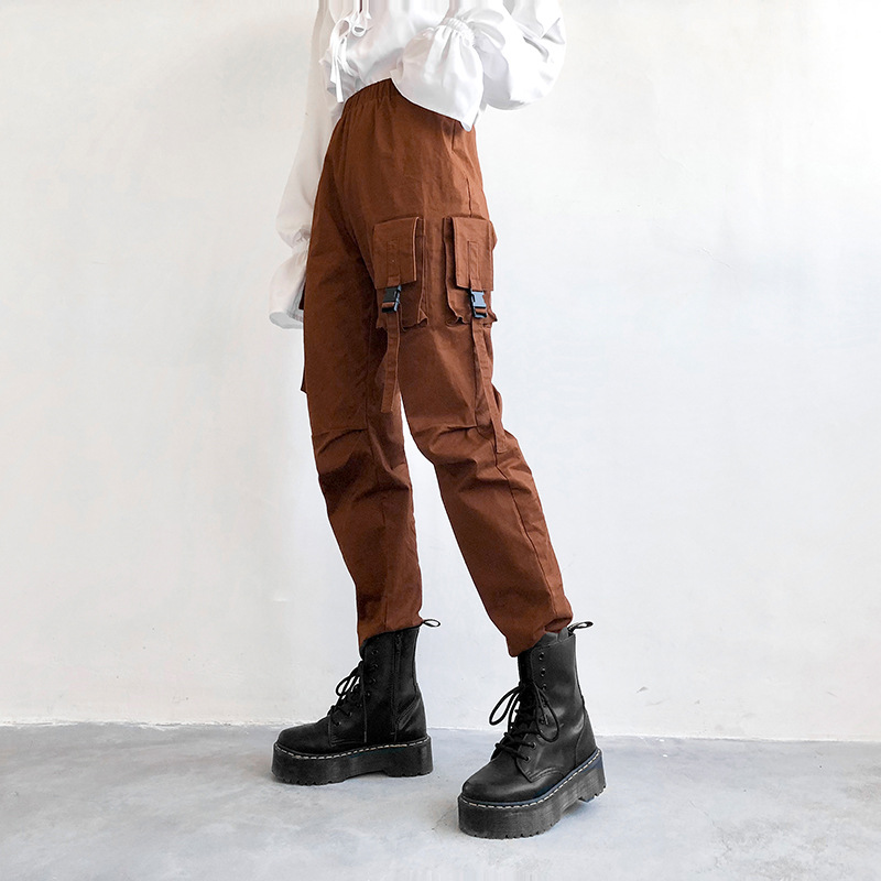 Liva Girl Streetwear Cargo   Pants   Women Elastic High Waist Casual Joggers Loose Female Hippop Trousers Pockets Ladies   Pants     Capri