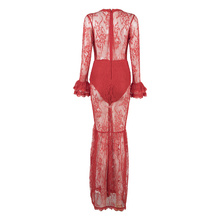 INDRESSME Sexy Lace Hollow Out Deep V Women Bandage Dress Fashion Full Flare Sleeve Floor Length Split Dress Vestidos 2017