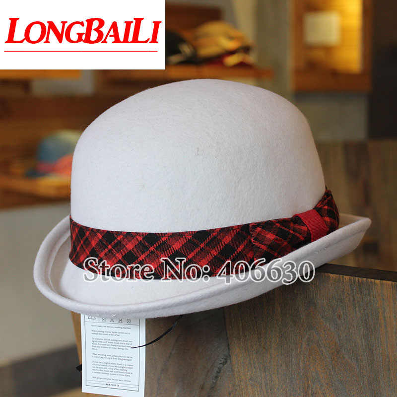 1c5f86581 New White Wool Bowler Hats For Men Chapeu Fedoras Black Top Hats ...