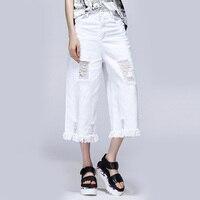 BLACK Women Capris Pants Summer 2016 Plus Size Casual Capris For Women Slim White Jeans Cotton