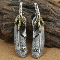 15*69mm Real 925 Sterling Silver Hawk Claw Feather Pendant Charm Fine Jewelry Making