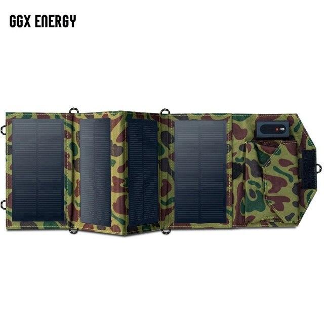 Cargador Solar portátil GGX ENERGY 8W para teléfono móvil iPhone Panel Solar plegable Mono + cargador de batería Solar USB plegable