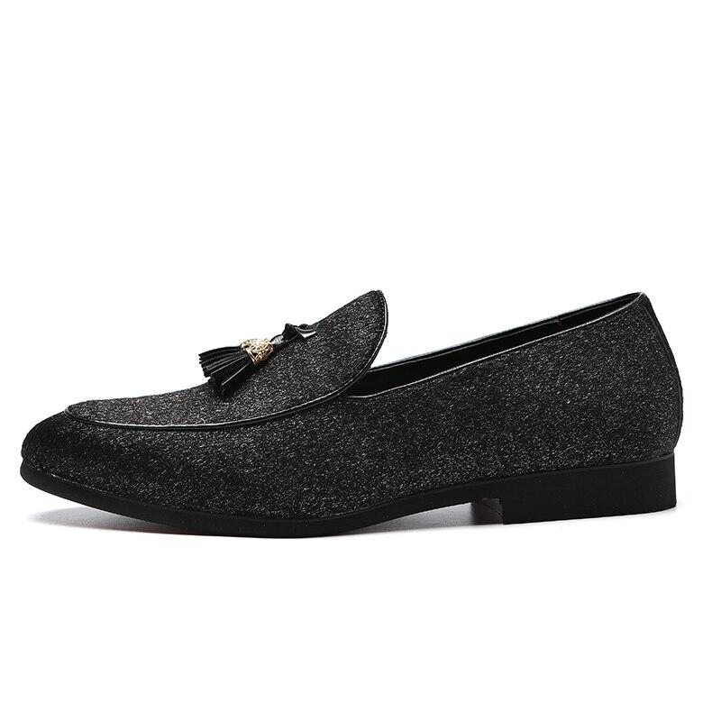 Slip Black Sapatos Casuais Plus Pendão Franja Moda Preto 48 Glitter Homens Lantejoulas Apartamentos Loafers on Da Size 2019 Eu37 FAzCwqg
