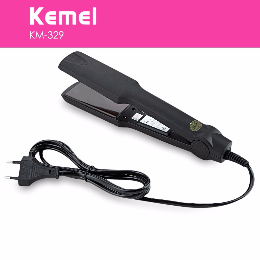 With BOX Professional Straightening Irons Electric Hair Straightener km-329 Flat Iron Fast Warm Up Styling Free Shipping Kemei