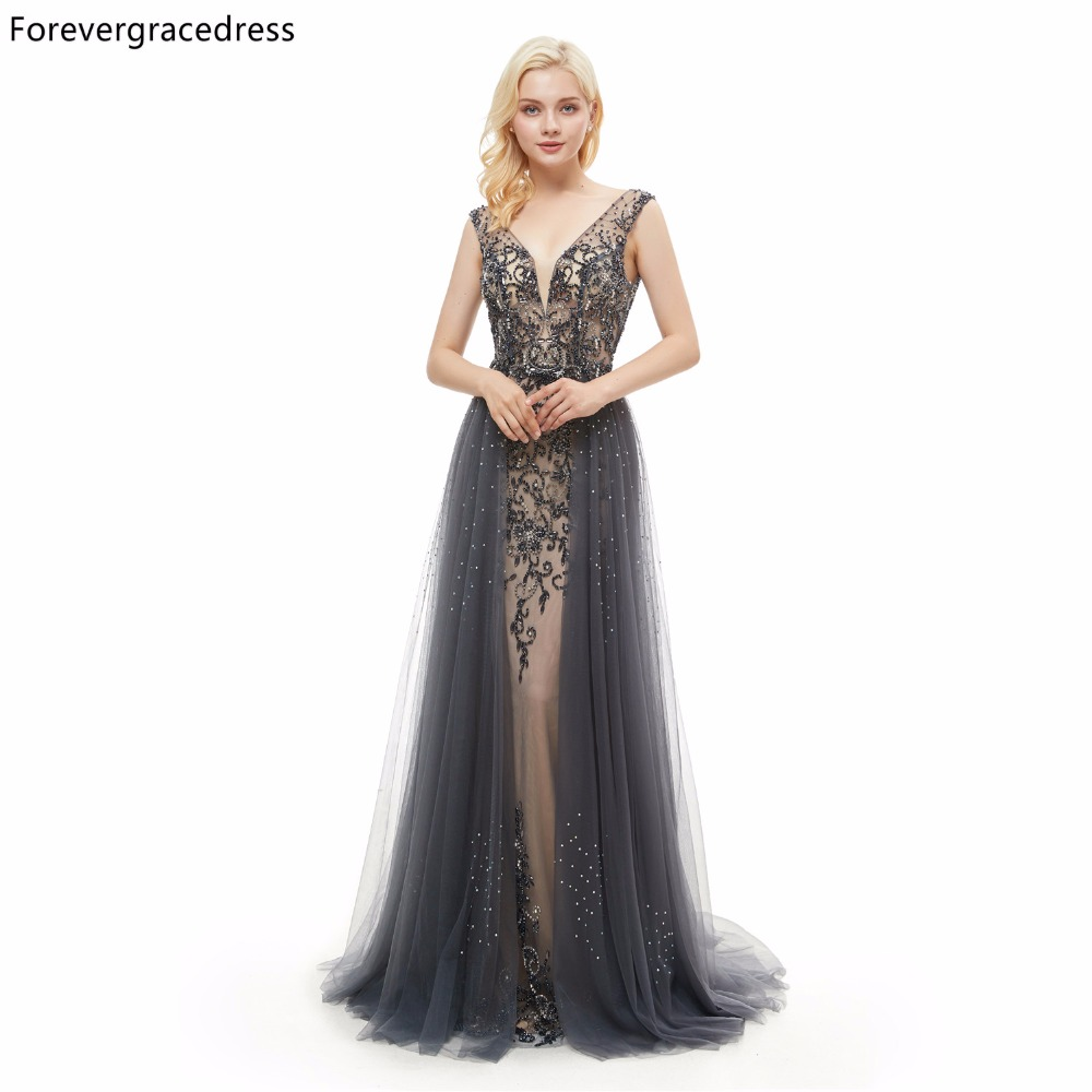 Forevergracedress Real Pictures Deep V Neck   Prom     Dress   Sleeveless Long Beaded Formal Party Gown Plus Size Custom Made 2019