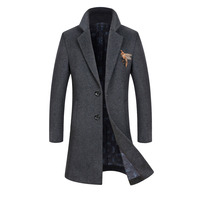 2019 Winter Mens Wool Coat Warm Thick Long Overcoat Men Jacket Wool Blend Casual Slim Male Pea Coat Plus Size Erkek Mont Kaban