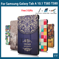 Высокое качество PU Чехол Для Samsung Galaxy Tab, 10.1 2016 T585 T580 SM-T580 T580N Чехол + Протектор Экрана подарки
