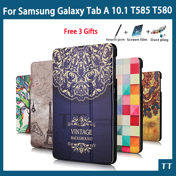 T580 case High quality PU Case Cover For Samsung Galaxy Tab A 10.1 2016 T585 T580 SM-T580 T580N Case + Screen Protector gifts
