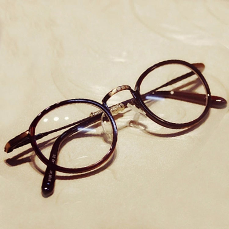 2014 vintage round glasses frame Alloy eyeglasses Big brand Korea flower women men punk styleeye - KMANDA GLASSES store